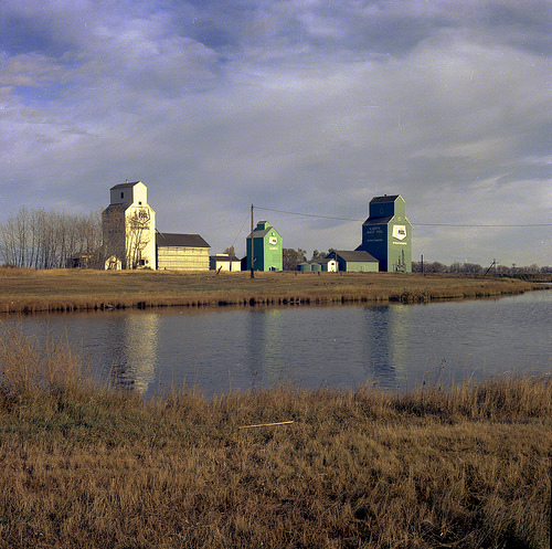 Alberta Wheat Pool grain elevators in Strathmore, Alberta